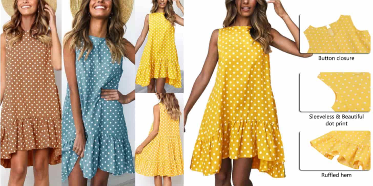 Дешеве плаття з бавовни в горошок від WENYUJH