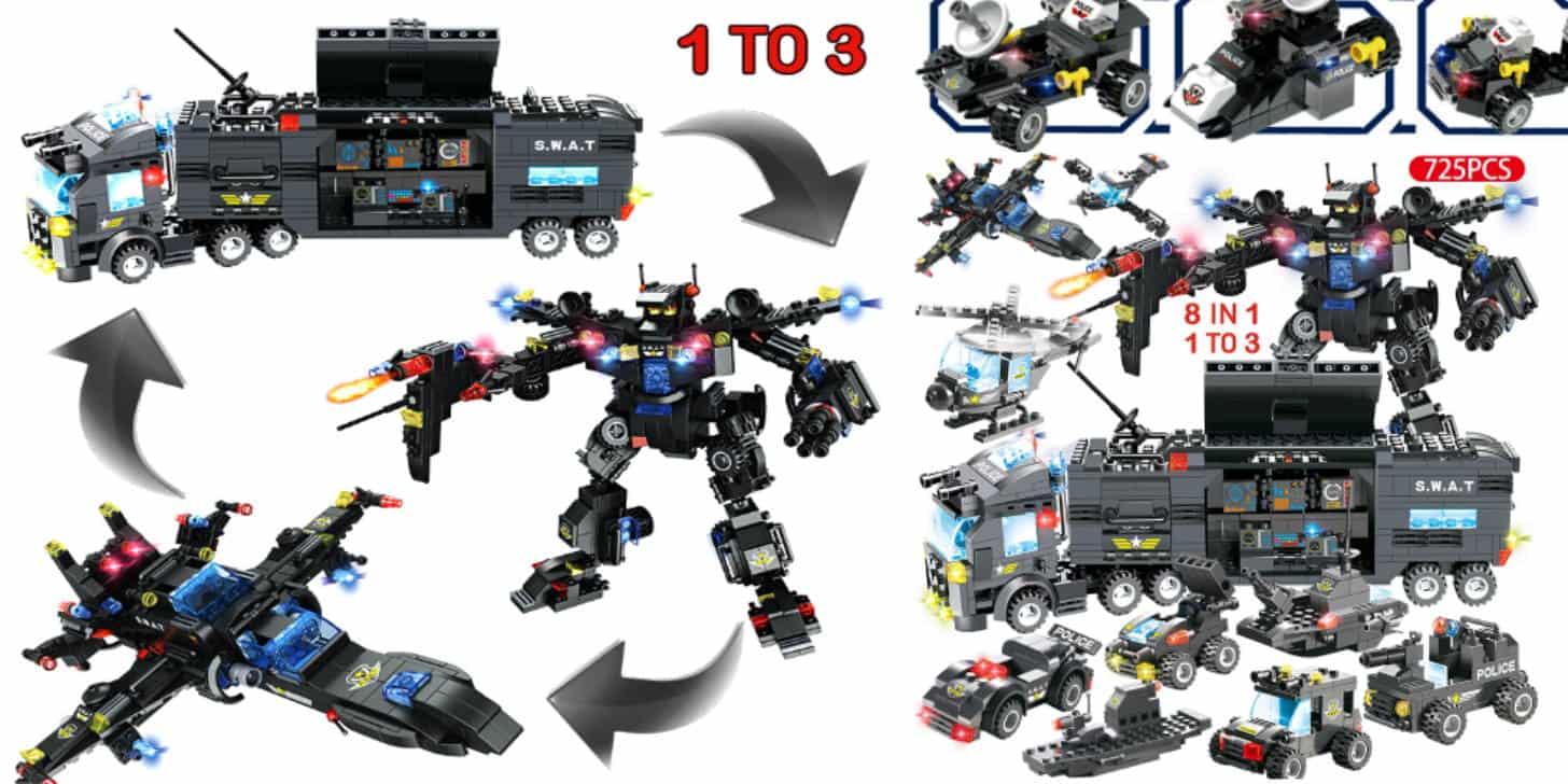 Дешевий дитячий конструктор типу лего - поліція і трансформер від Legoinglys